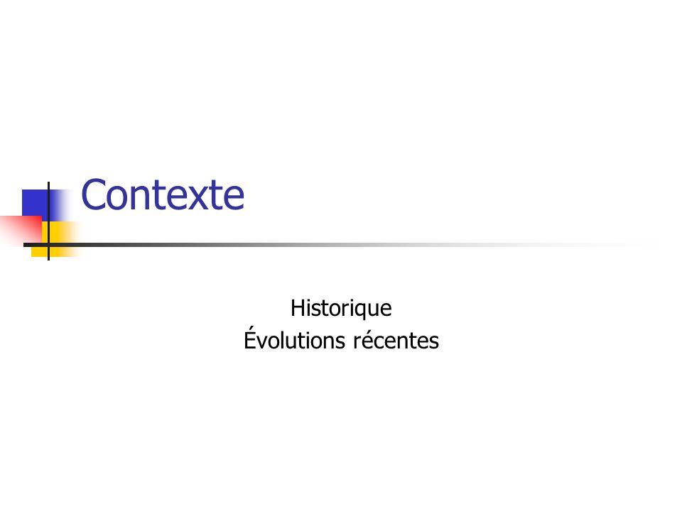 Historique Évolutions récentes