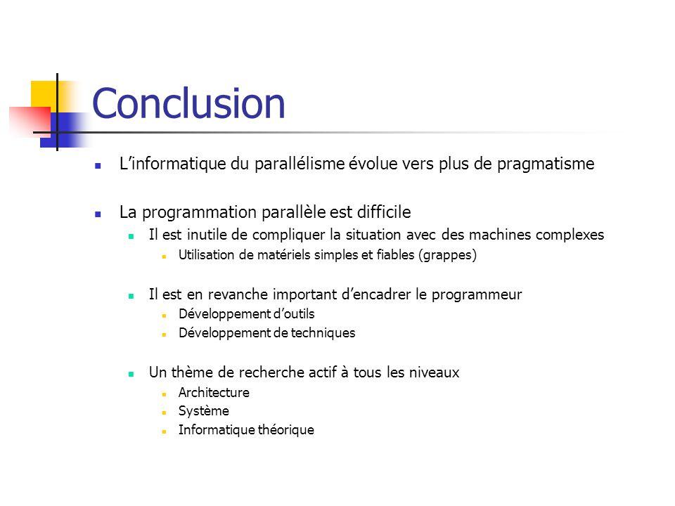 Conclusion L'informatique du parallélisme évolue vers plus de pragmatisme. La programmation parallèle est difficile.