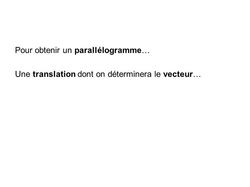 Pour obtenir un parallélogramme…