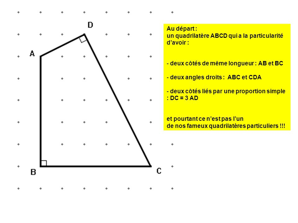 Au départ : un quadrilatère ABCD qui a la particularité d'avoir : deux côtés de même longueur : AB et BC.