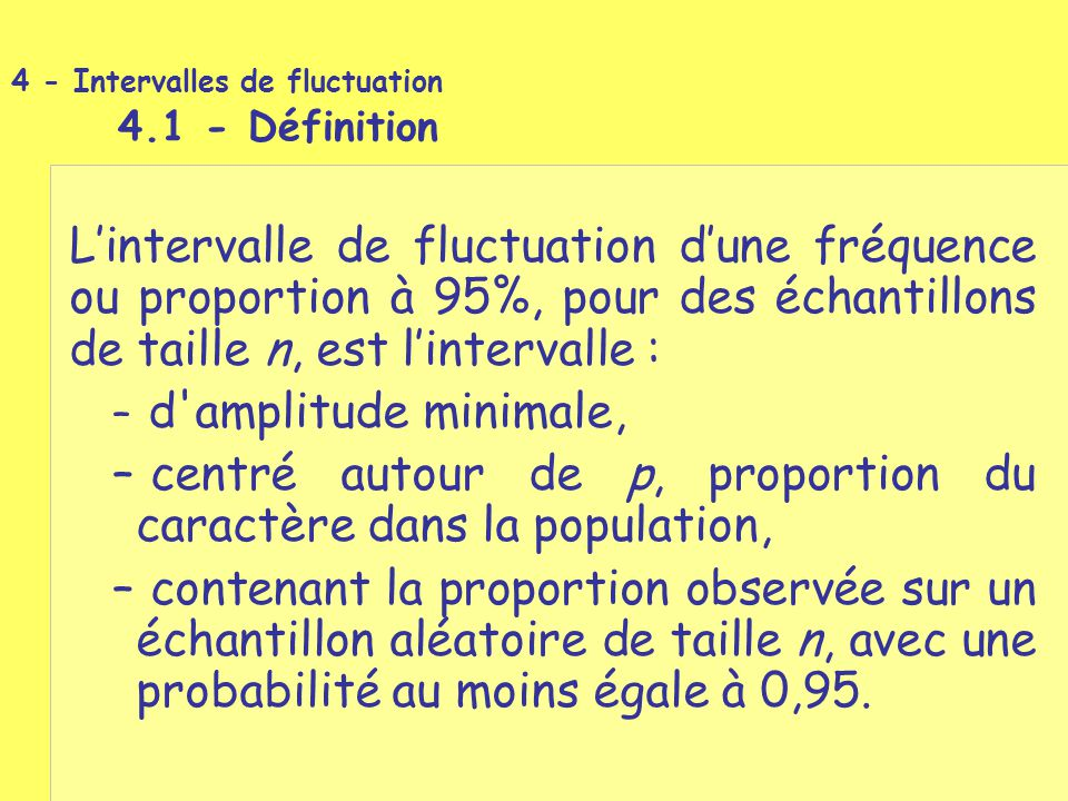 4 - Intervalles de fluctuation 4.1 - Définition