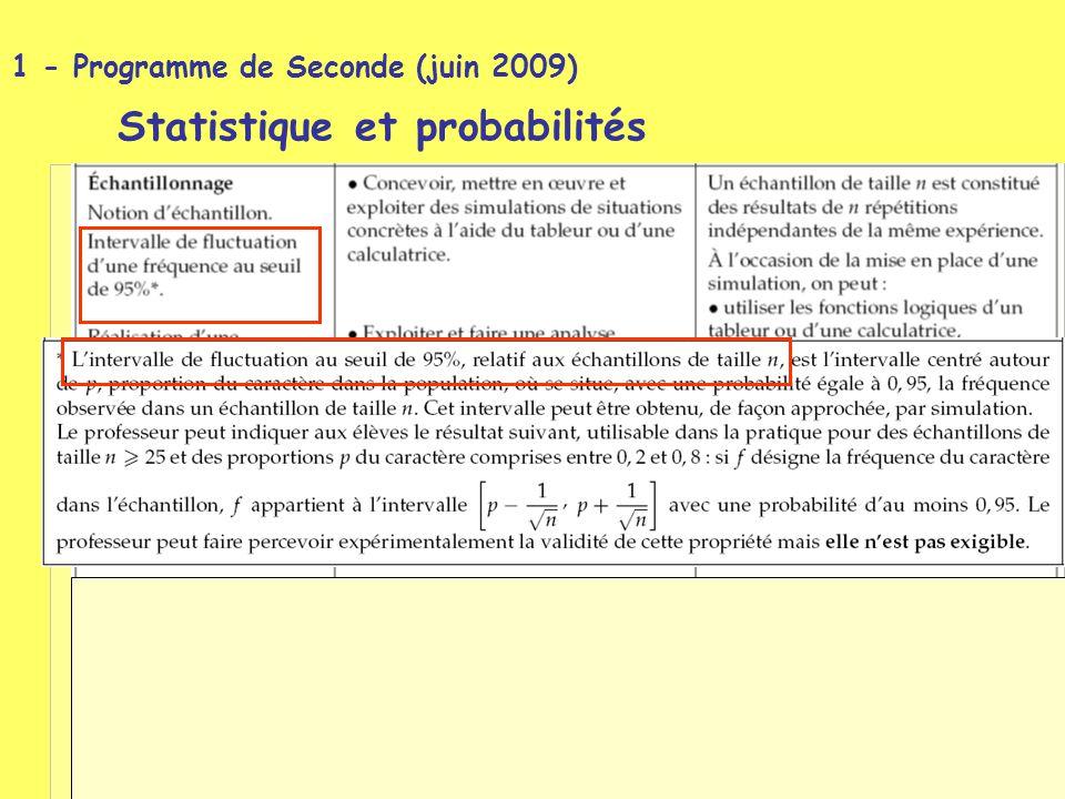 1 - Programme de Seconde (juin 2009) Statistique et probabilités