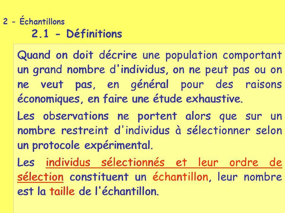 2 - Échantillons 2.1 - Définitions