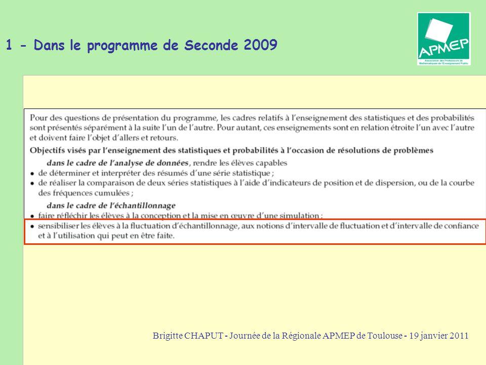 1 - Dans le programme de Seconde 2009