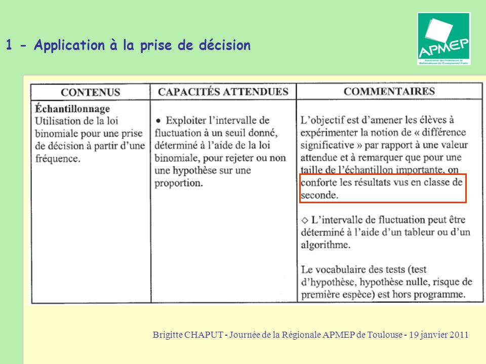 1 - Application à la prise de décision