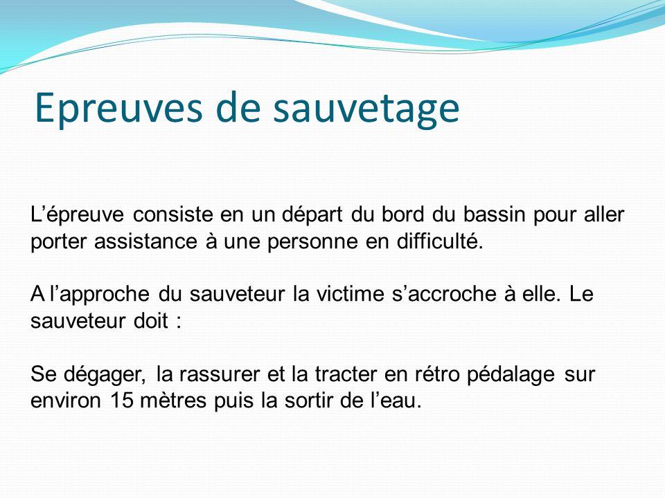 Epreuves de sauvetage L'épreuve consiste en un départ du bord du bassin pour aller porter assistance à une personne en difficulté.