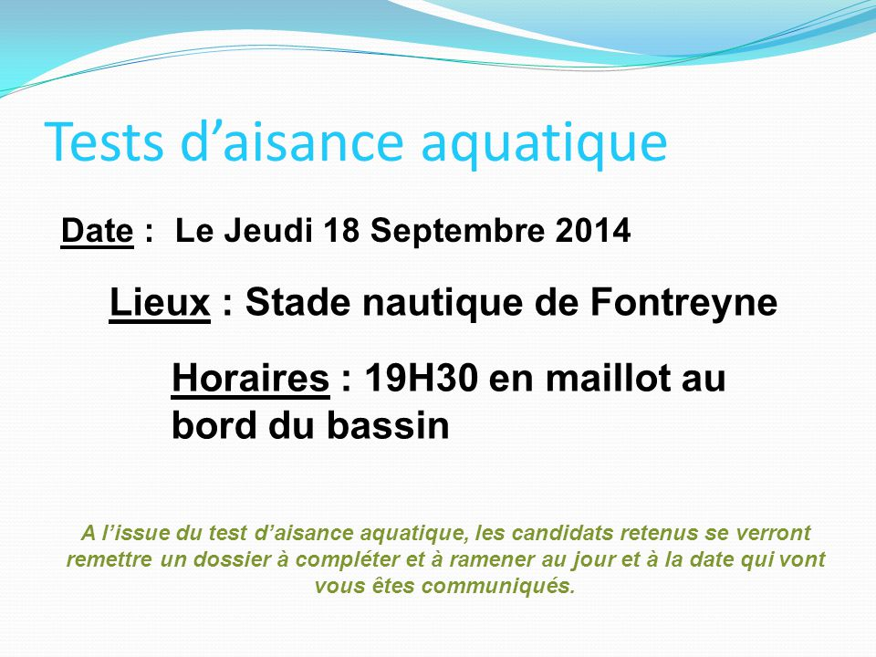 Tests d'aisance aquatique