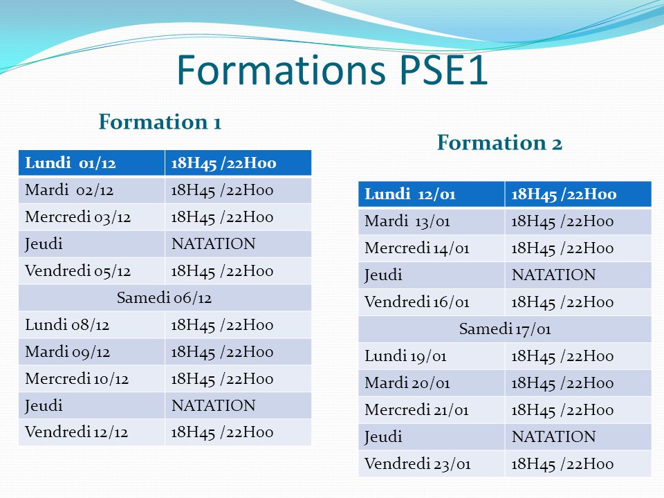 Formations PSE1 Formation 1 Formation 2 Lundi 01/12 18H45 /22H00