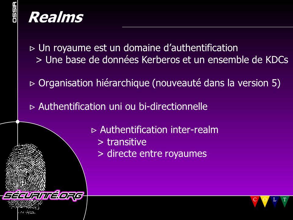Realms  Un royaume est un domaine d'authentification