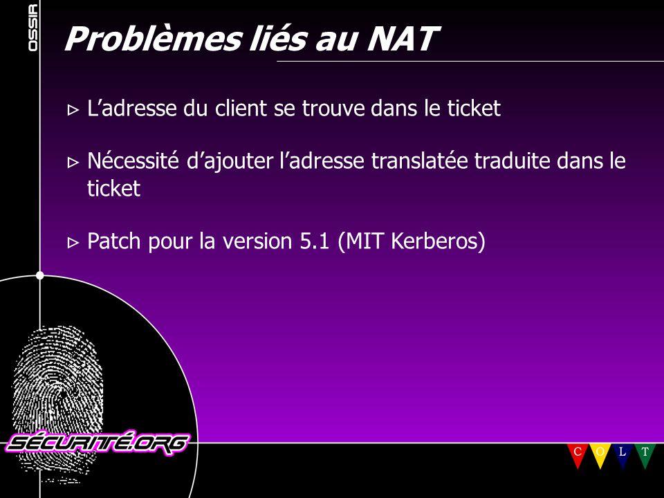 Problèmes liés au NAT  L'adresse du client se trouve dans le ticket