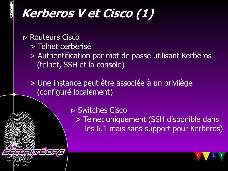Kerberos V et Cisco (1)  Routeurs Cisco > Telnet cerbèrisé