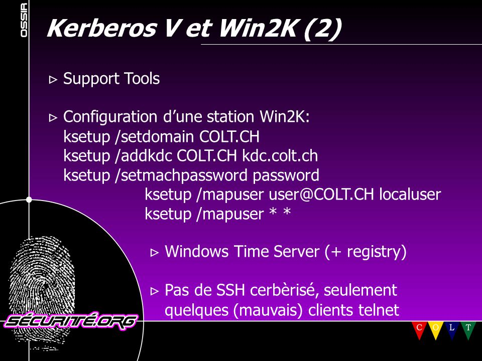 Kerberos V et Win2K (2)  Support Tools
