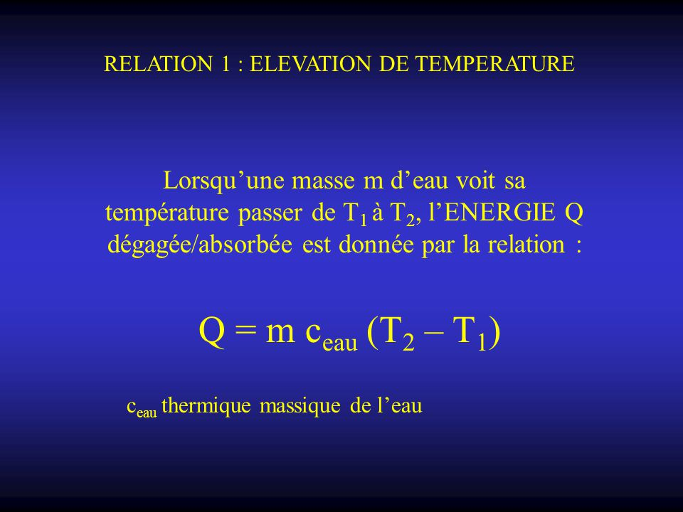 RELATION 1 : ELEVATION DE TEMPERATURE