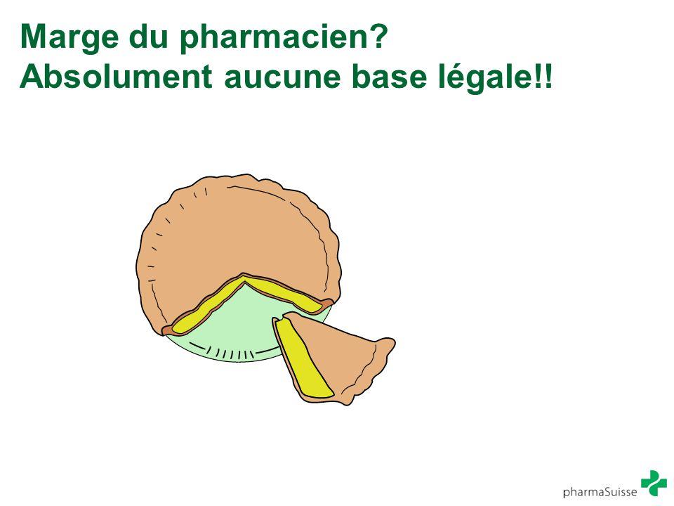 Marge du pharmacien Absolument aucune base légale!!