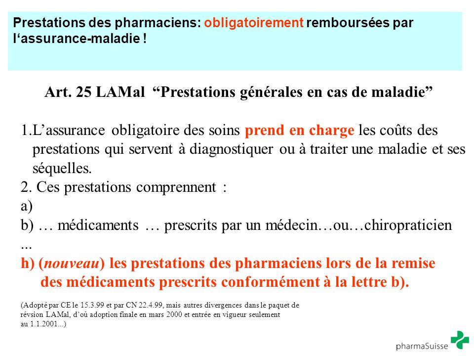 Art. 25 LAMal Prestations générales en cas de maladie