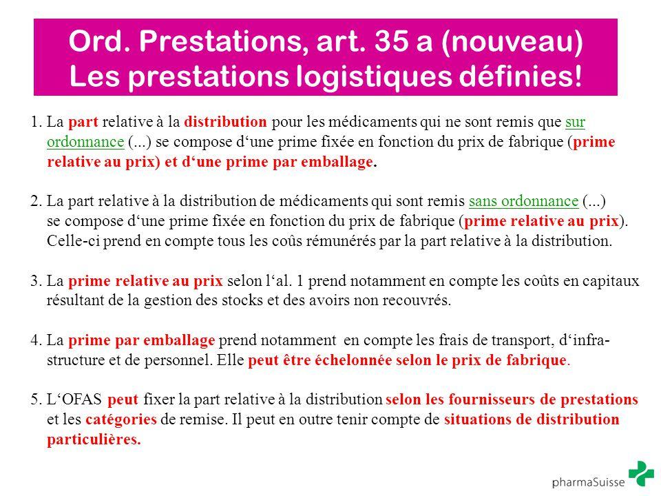 Ord. Prestations, art. 35 a (nouveau)
