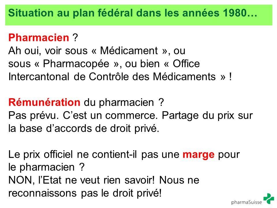 Situation au plan fédéral dans les années 1980…