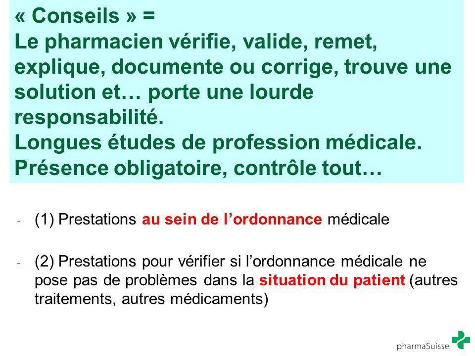 « Conseils » = Le pharmacien vérifie, valide, remet, explique, documente ou corrige, trouve une solution et… porte une lourde responsabilité. Longues études de profession médicale. Présence obligatoire, contrôle tout…