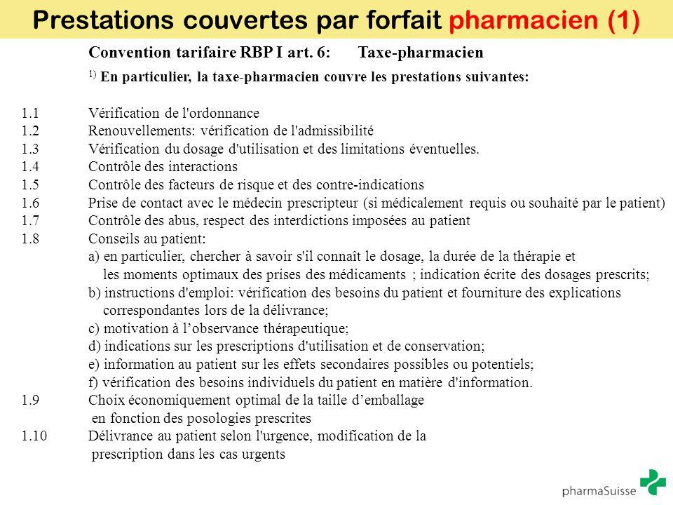 Prestations couvertes par forfait pharmacien (1)