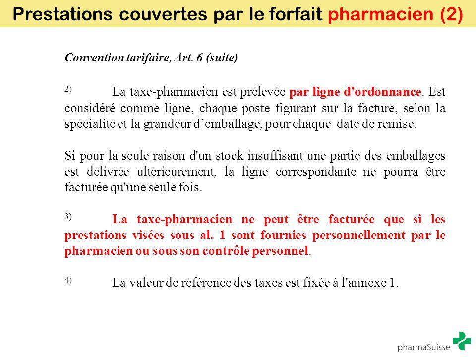Prestations couvertes par le forfait pharmacien (2)