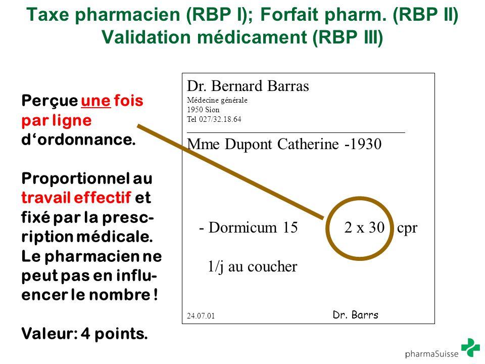 Taxe pharmacien (RBP I); Forfait pharm
