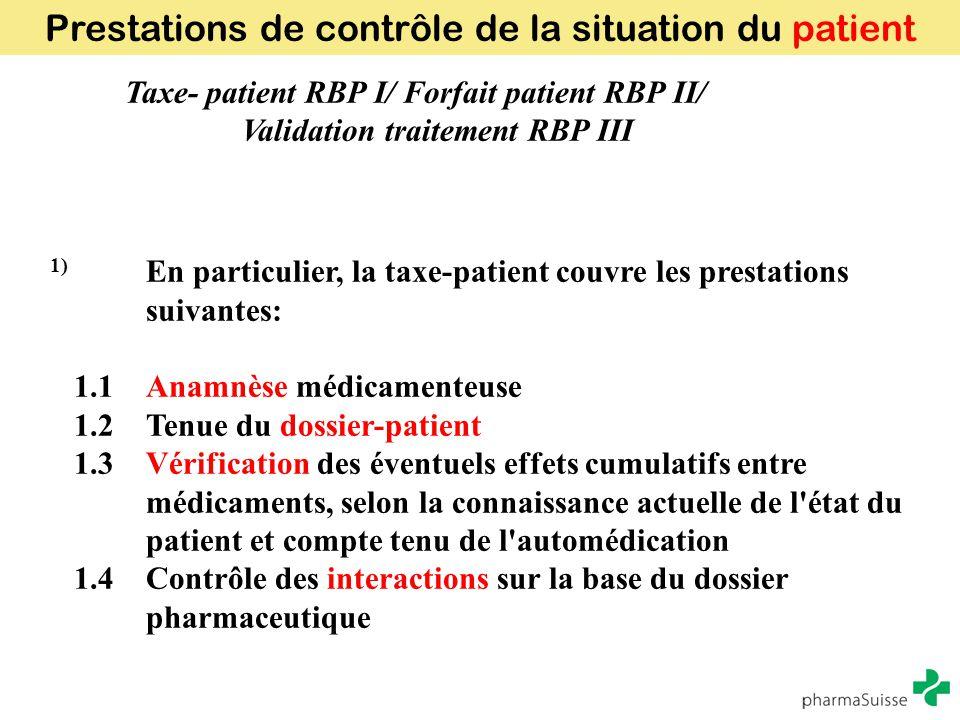 Prestations de contrôle de la situation du patient
