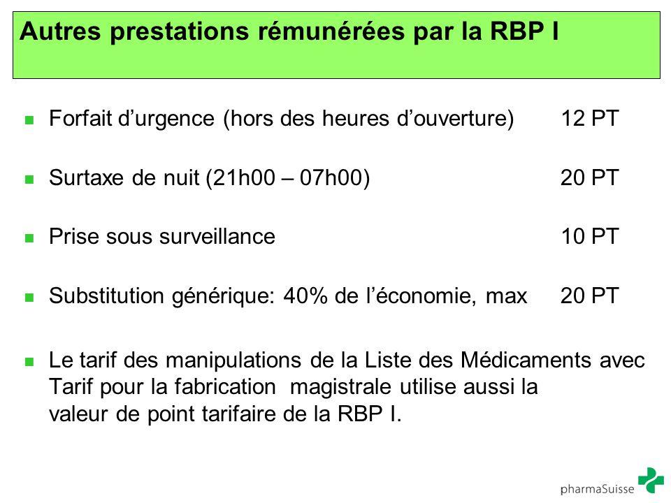 Autres prestations rémunérées par la RBP I
