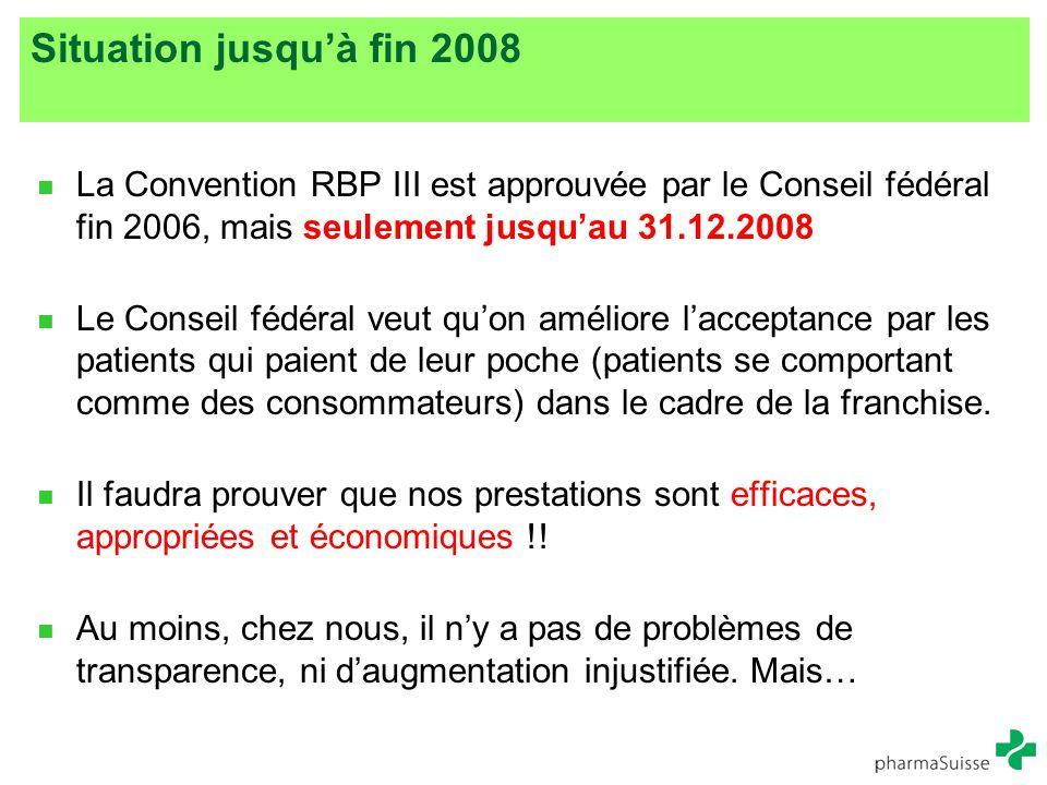 Situation jusqu'à fin 2008 La Convention RBP III est approuvée par le Conseil fédéral fin 2006, mais seulement jusqu'au 31.12.2008.