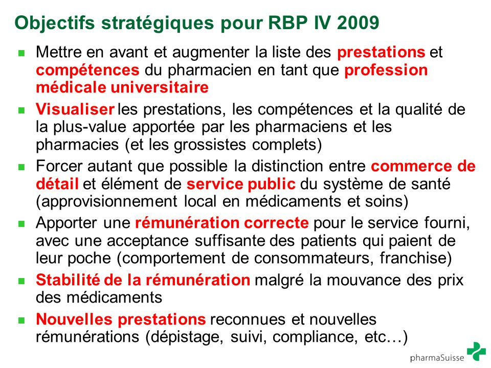 Objectifs stratégiques pour RBP IV 2009