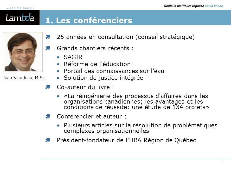 1. Les conférenciers 25 années en consultation (conseil stratégique)