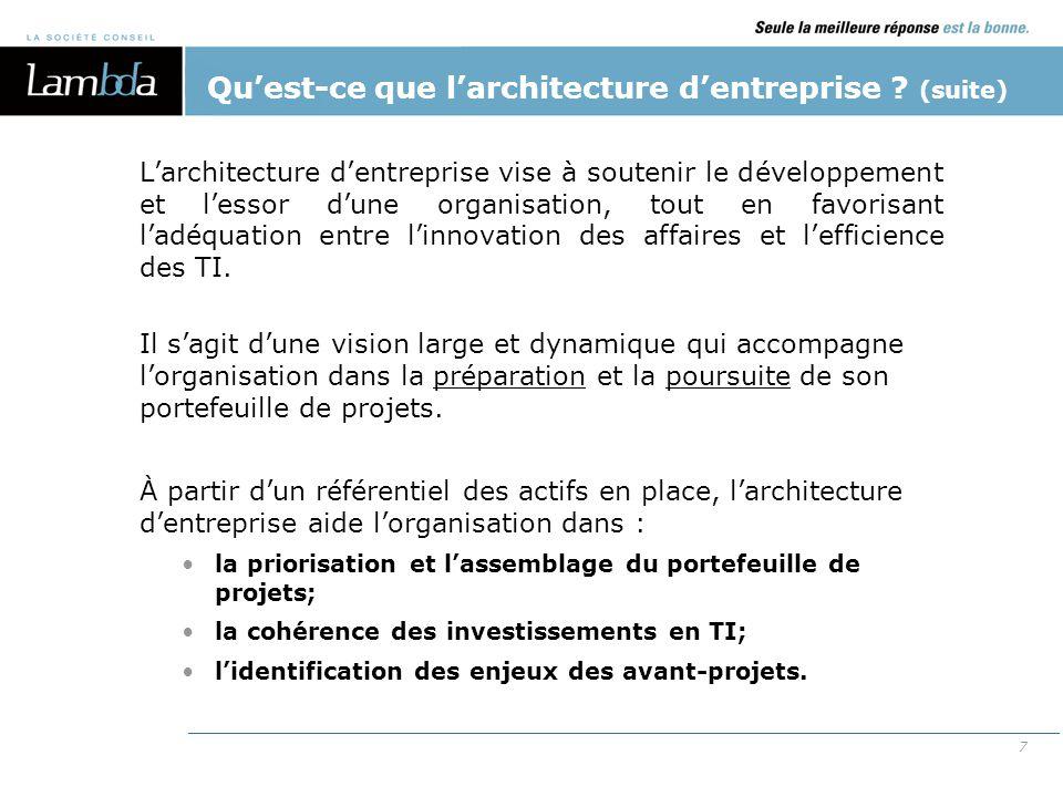 Qu'est-ce que l'architecture d'entreprise (suite)