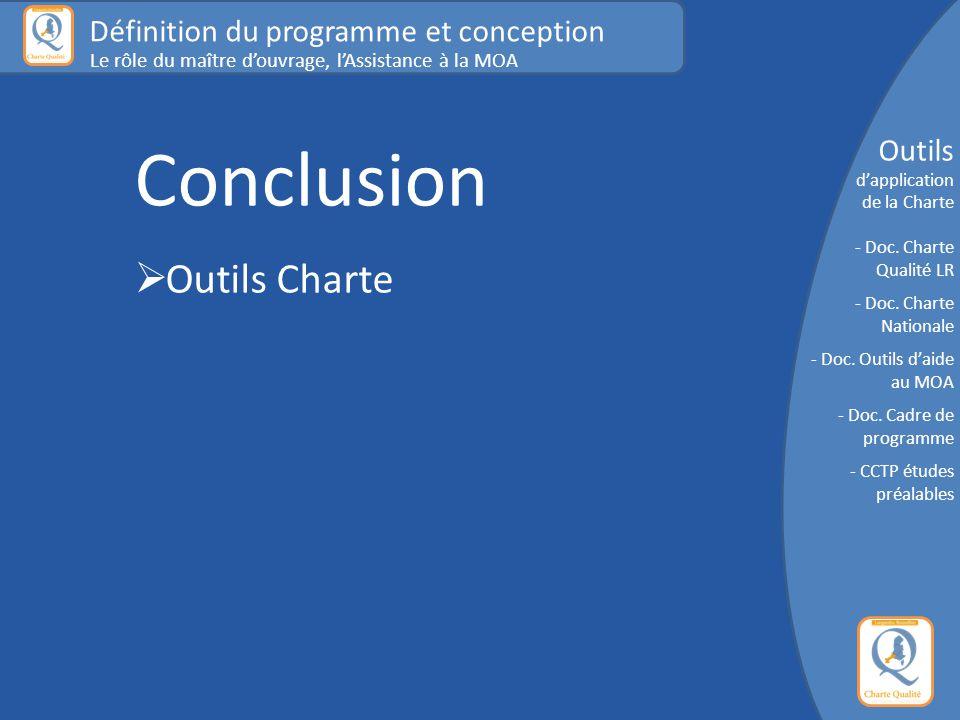 Conclusion Outils Charte Définition du programme et conception