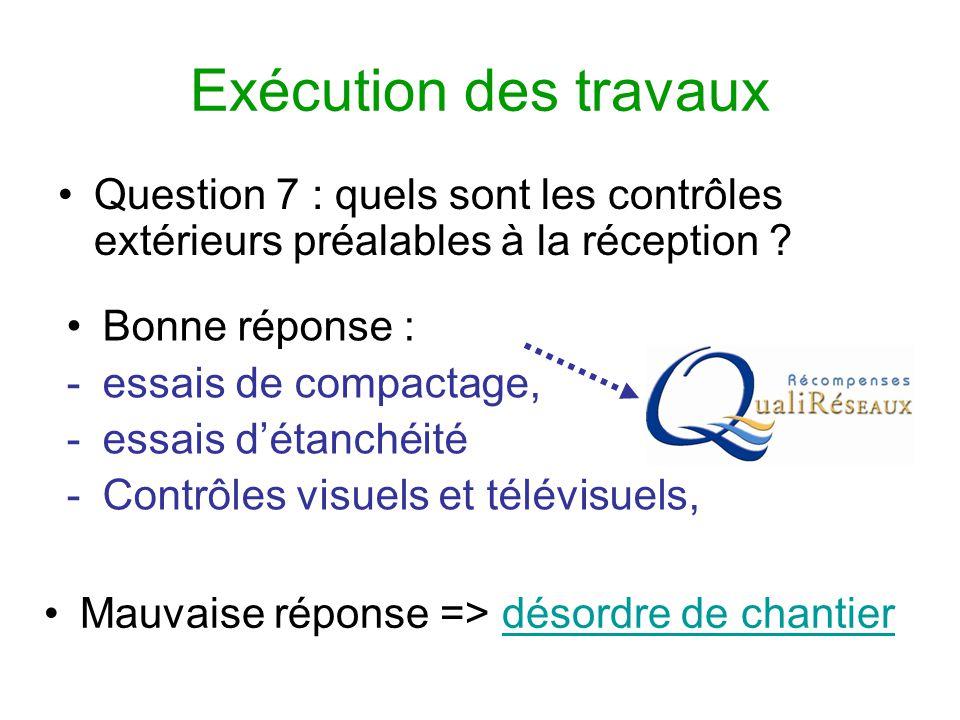 Exécution des travaux Question 7 : quels sont les contrôles extérieurs préalables à la réception Bonne réponse :