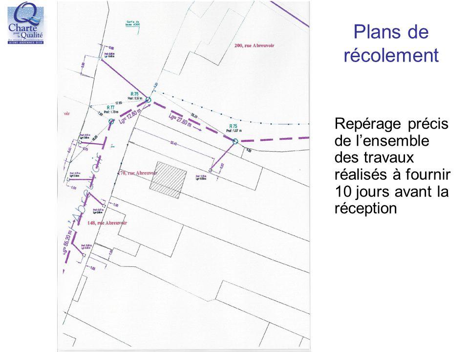 Plans de récolement Repérage précis de l'ensemble des travaux réalisés à fournir 10 jours avant la réception.