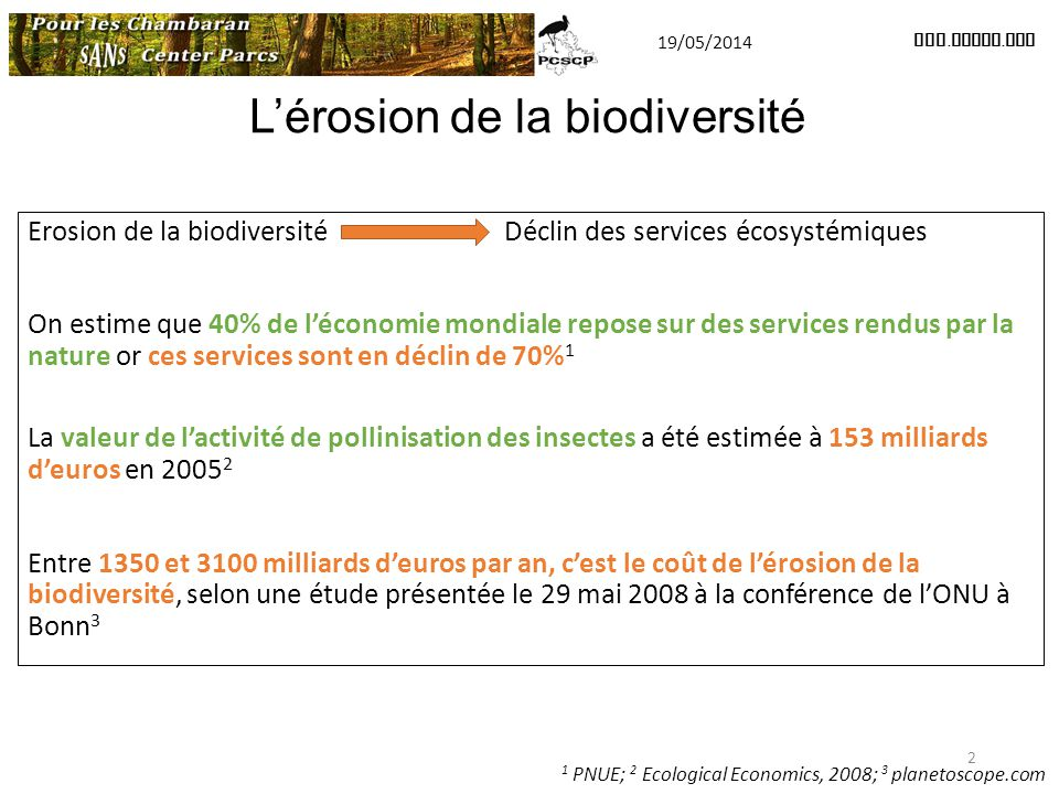 L'érosion de la biodiversité