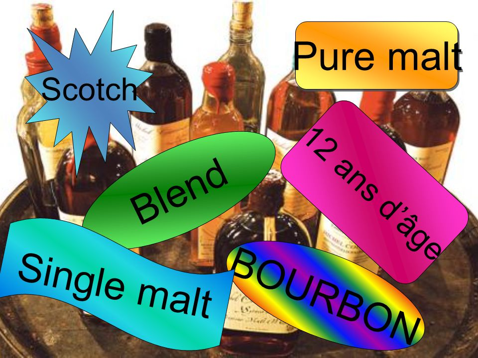 Scotch Pure malt 12 ans d'âge Blend Single malt BOURBON