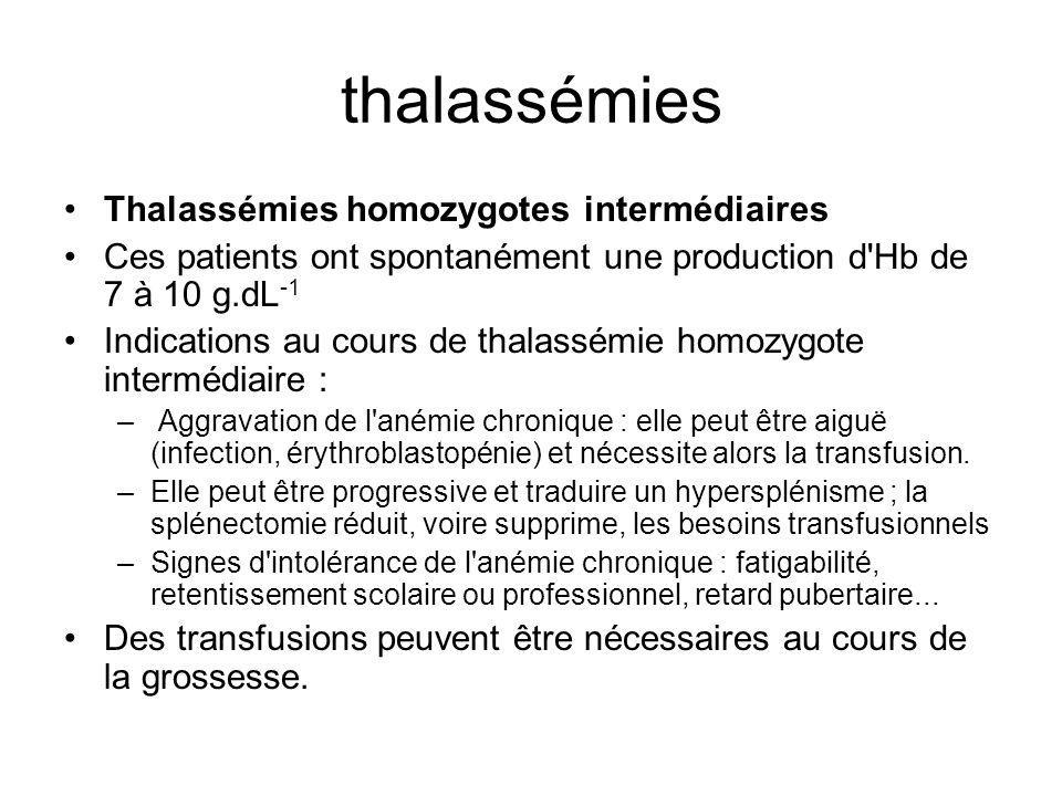 thalassémies Thalassémies homozygotes intermédiaires