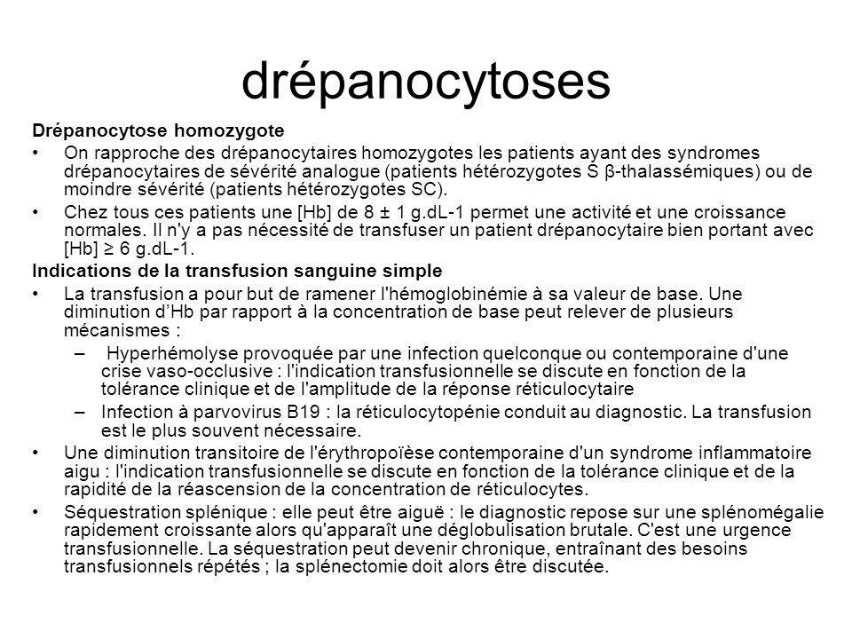 drépanocytoses Drépanocytose homozygote