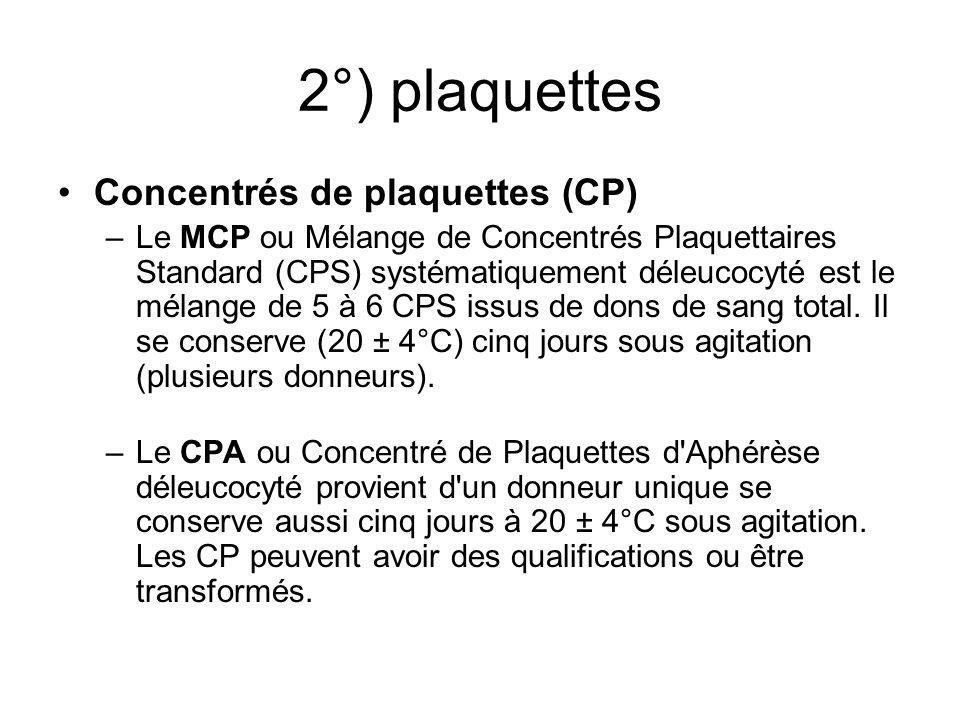 2°) plaquettes Concentrés de plaquettes (CP)