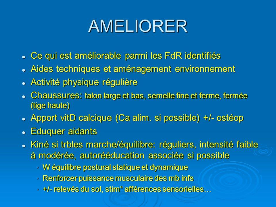 AMELIORER Ce qui est améliorable parmi les FdR identifiés