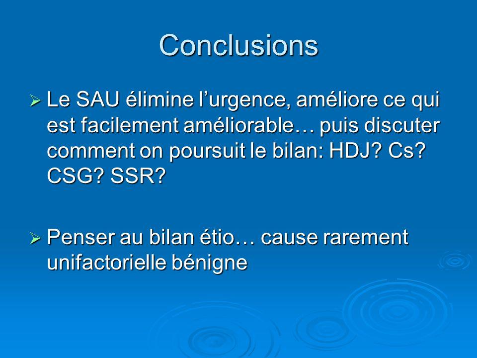 Conclusions Le SAU élimine l'urgence, améliore ce qui est facilement améliorable… puis discuter comment on poursuit le bilan: HDJ Cs CSG SSR