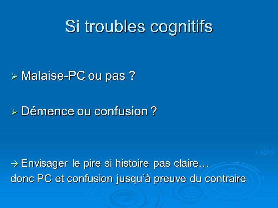 Si troubles cognitifs Malaise-PC ou pas Démence ou confusion