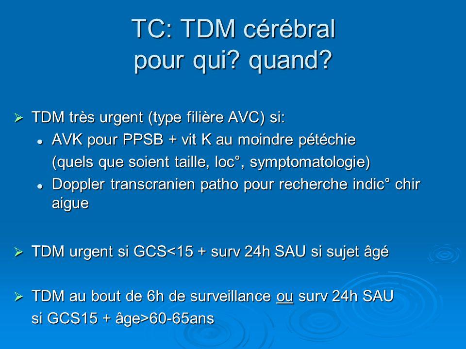 TC: TDM cérébral pour qui quand