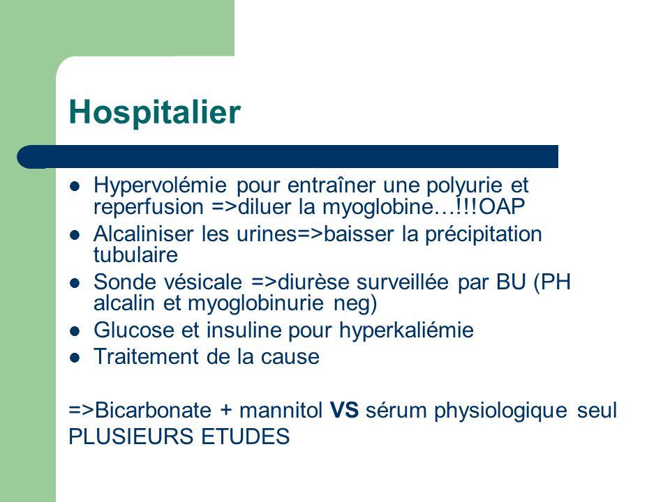 Hospitalier Hypervolémie pour entraîner une polyurie et reperfusion =>diluer la myoglobine…!!!OAP.