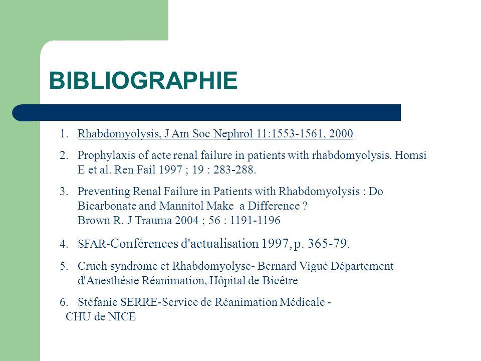 BIBLIOGRAPHIE Rhabdomyolysis, J Am Soc Nephrol 11:1553-1561, 2000