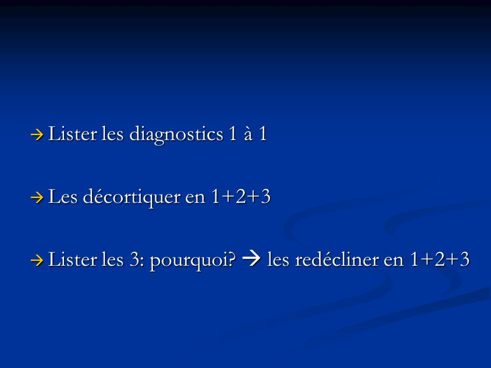 Lister les diagnostics 1 à 1