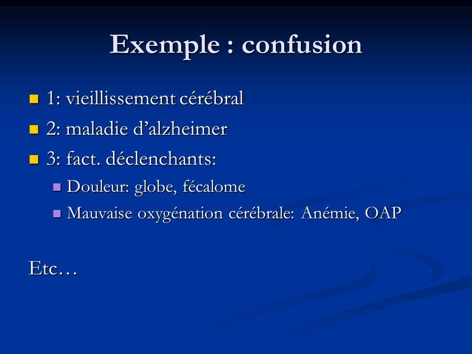 Exemple : confusion 1: vieillissement cérébral 2: maladie d'alzheimer
