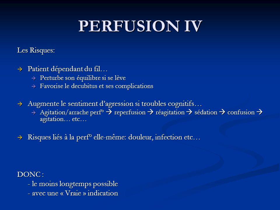 PERFUSION IV Les Risques: Patient dépendant du fil…