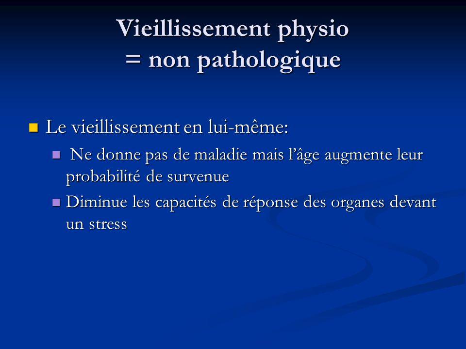 Vieillissement physio = non pathologique