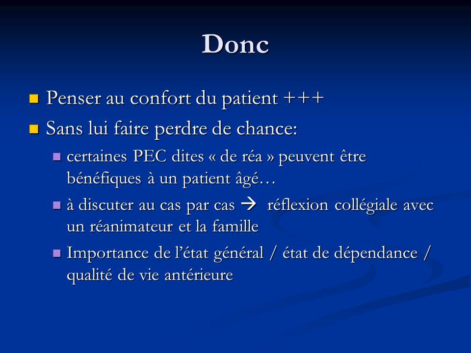 Donc Penser au confort du patient +++ Sans lui faire perdre de chance: